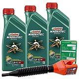 3x 1 L = 3 Liter Castrol Magnatec Diesel 5W-40 DPF Motor-Öl inkl. Ölwechsel-Anhänger und Einfülltrichter