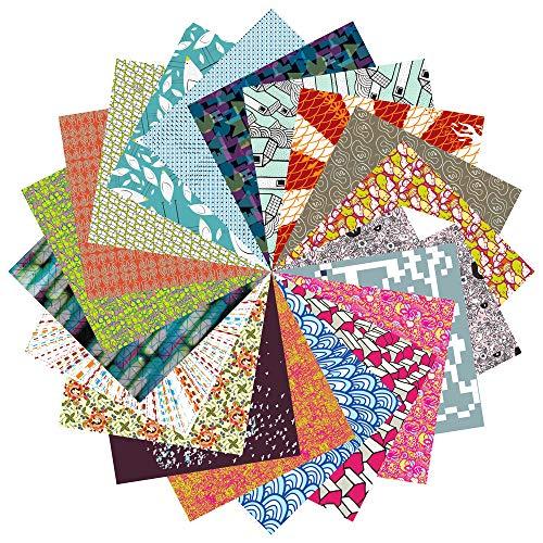 Folded Square Origami - Conjunto de Regalo de Papel para Papiroflexia | 200 Hojas, 15cm Cuadrado | Estampados de Diseño (Colección completa)