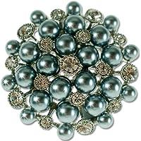 Spilla con Perla Tonda simmetrico, con Swarovski e cristalli cechi, placcato metallo prezioso, grafite, Janeo