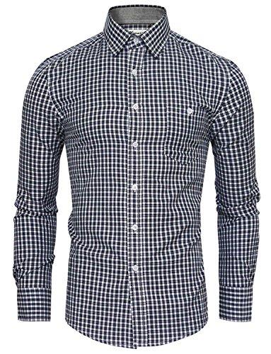 HRYfashion - Chemise habillée - À Carreaux - Col Boutonné - Manches Longues - Homme Bleu