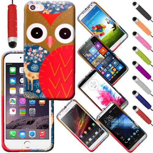 Monde de mobile® Apple iPhone 6G 11,9cm Imprimé arrière en caoutchouc Style Coque en gel silicone + stylet d'écran LCD, Two Owls On a Branch, a Red Owl With Dear