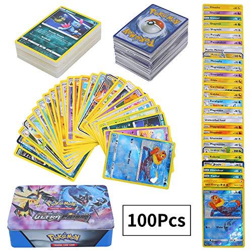 100Pcs Pokémon Cartes Sun & Mood Series, Ultra Prism, Pokemon Cartes à Collectionner, GX Cartes EX Energy Trainer Cartes
