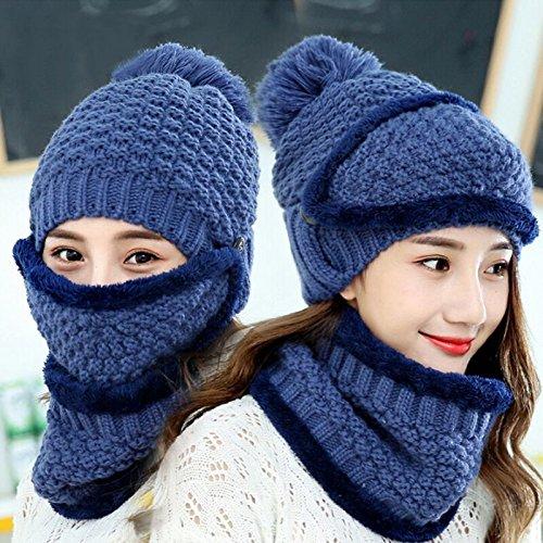 Blau Stricken Hut-set (Womens Linie Hut Winter Verdickung und Kaschmir Warme Winddichte Ohrenschützer Mütze Reiten Hut Stricken Hut Kragen Maske Set,Blau)