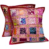 2 Pink Embroidery Sequin Patchwork Indian Sari Throw Pillow Cushion Covers