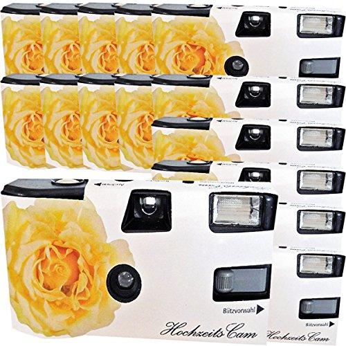 15 x Photo Porst boda Cámara/cámara desechable 'crema amarillas de bodas Rose (instrucciones en alemán, con flash luz y pilas, por 27 fotos, ISO 400 Fuji)