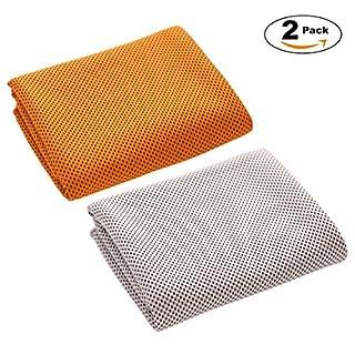 Ahatech Kühlen Handtuch Kaltes Handtücher Set Für Outdoor-Sport Benutzerdefinierte Schnell Kühlende 30 * 100cm 2 Stk/Pack (Silbergrau + Orange)