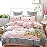 Four-piece Set Of American Simple Thickening Grinding Wool Bow Embroidery Bedding 1.8m European Cotton Home Quilt Cover-B 200x230cm(79x91inch)