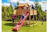 Fungoo Spielplatz My Space XL geschlossenes Kletterhaus Set mit Rutsche, Aussichtsplattform mit Fernrohr und Ruder - Grün