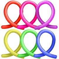 HENBRANDT 6x Stretchy Noodle String Neon Kids Childrens Fidget Stress Relief Sensory Toy
