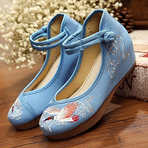 Chaussures en toile broderies augmentées porter des chaussures plates confortables blue