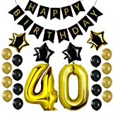 Czemo Decorazioni Festa di Compleanno - Palloncino Numero 40 + Ghirlanda di pennant di buon compleanno + Palloncini di Stelle + Palloncini e Lattice - Perfetto per Decorazioni di Festa di Compleanno