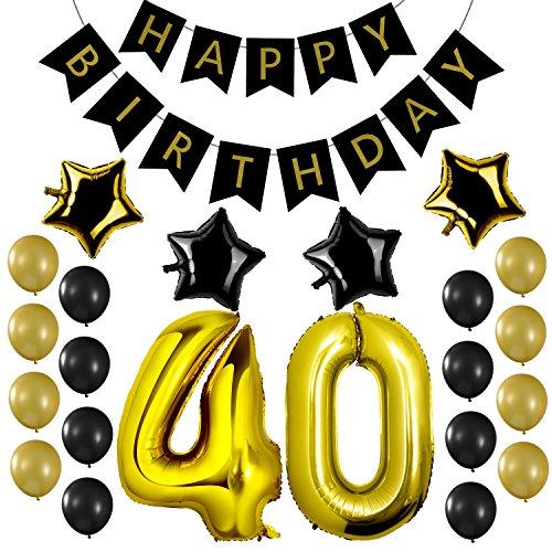 Czemo Decoración Cumpleaños 40 Años Kit de Decoraciones de la Fiesta de Cumpleaños + Bandera del Feliz Cumpleaños + Globos de Látex + Globo Número 40 + Globos de Estrellas
