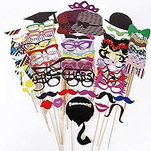 76pcs DIY Photo Booth Props Cabina de Fotos Accesorios Máscara Gafas Labios Rojos Corbatas Sombreros cumpleaños Para Fiesta Boda Fotos Fiesta Favor Graduación