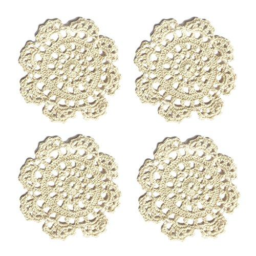 """Ambielly rotonda Handmade Crochet del cotone del merletto Tabella Tovagliette centrini per la Coppa / vetro, Value Pack / 4 pezzi, (13 cm / 5.1 """", beige)"""