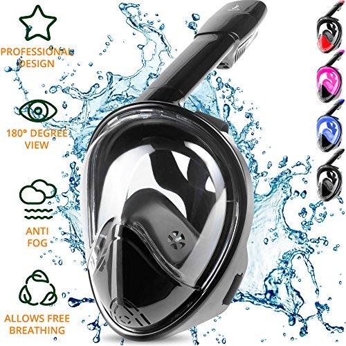 Vollgesicht Schnorchelmaske - Easybreath Schnorchelmaske - Mit Ihrer Nase und Mund zusammen Atmen - Beseitigt das Würgen, Verbessert die Sicherheit & Komfort und Perfekte Passform - Splitterfestes Glas (Schwarz, (Maske H2o)