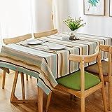 Woo.L.L Im skandinavischen Stil Tischdecke Stoff mediterrane Baumwolle und Leinen frische kleine gestreifte Tischdecke Tischdecke,100 * 160cm