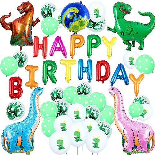 Remebe 48 pezzi 3d palloncini foil dinosauro, dinosauro compleanno festa palloncini decorazione mondo jurassic style per festa compleanno bambini