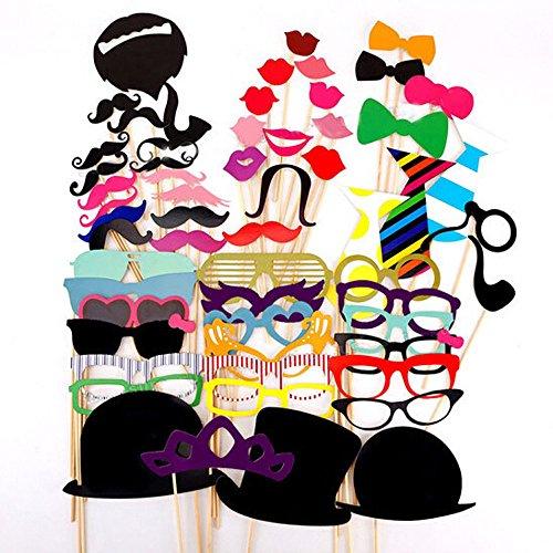 ipalmay Photo Booth Props DIY Kit, Papier Prop auf einem Bamboo Stick für aufnehmen Lustige Fotos auf Geburtstag, Hochzeit,, Ihre geschäftstreffen, Verkleiden Kostüm Zubehör mit Schnurrbart, Hüten, Brillen, Lippen, (Diy Kostüm Studio)