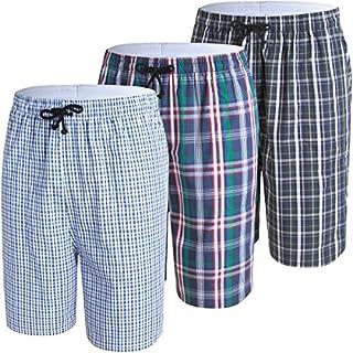 JINSHI Herren Schlafanzughosen Kurz Karierte Pyjamahose Baumwolle Nachtwäsche Sleep Sommerhose mit Seitentaschen 3er Pack-03 Größe XXXL
