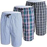 JINSHI Pigiama Estivo da Uomo Pantaloni Corti a Quadretti Sala Notte Cotone Shorts con Tasche per Tempo Libero Pacco da 3 Taglia L