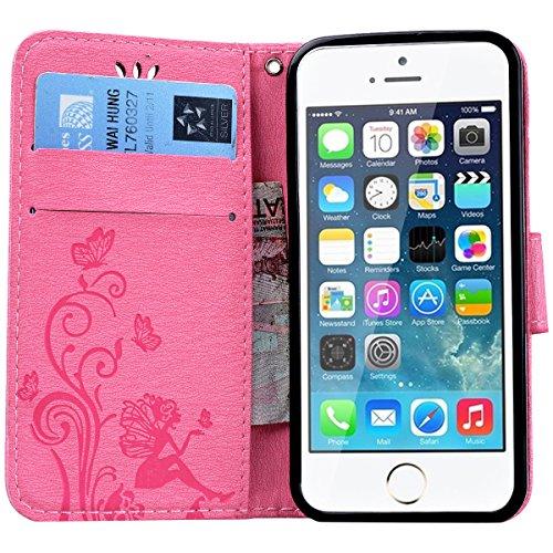 HB-Int PU Leder Hülle für iPhone SE / 5S / 5 Wallet Lederhülle mit Handschlaufe Kreditkartenfächer Standfunktion Handytasche Drucken Weinstock Schmetterling Mädchen Muster Schutzhülle Magnetverschluss Pink