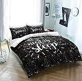 eirene threadz Slogans Polycotton Duvet Cover set with Pillow Cases Bedding Sets (Double, Sleep)