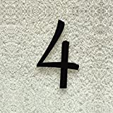 Colours-Manufaktur Hausnummer Nr. 4 - Schriftart: Klassisch - Höhe: 20-30 cm - viele Farben wählbar (RAL 9005 tiefschwarz (schwarz) glänzend, 20 cm)