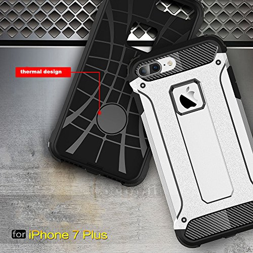 iPhone 8 Plus / 7 Plus Hülle, Cocomii Commando Armor NEW [Heavy Duty] Premium Tactical Grip Dustproof Shockproof Hard Bumper Shell [Military Defender] Full Body Dual Layer Rugged Cover Case Schutzhüll White