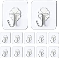 Chillyfit Adhesive Wall Hook 10 Pack, wall hooks for hanging strong, Heavy Duty Sticky Hooks for Hanging, Transparent…