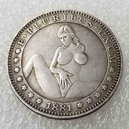 YunBest Best Morgan-Münzen - 1881 Hobo Nickel-Münze - alte Münze zum Sammeln - Silber-Dollar USA Old Morgan Dollar - überzogene Silberne Nachbildung von Münzen BestShop -