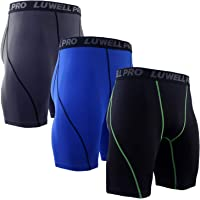LUWELL PRO 3 Pack Compression Shorts Mens Quick Dry Running Shorts Base Layers Men for Training,Basketball,Gym