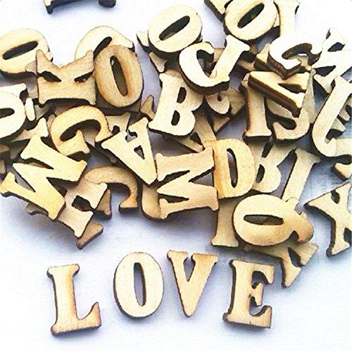 Leisial 100Pcs Holz Capital Scrabble Fliesen Alphabet Buchstabe Zahlen für Das Handwerk Schmuckherstellung Arts DIY Dekoration Zeigt, Holz, Holz, 1.5 cm
