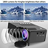 1800 Lumens LCD Mini Projector, Multimedia Home Theater Video Projector Supporting 1080P, HDMI, USB, VGA, AV for Home Cinema, TVs, Laptops, Games, Smartphones