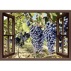Artland Qualitätsbilder I Bild auf Leinwand Leinwandbilder Wandbilder 100 x 70 cm Landschaften Fensterblick Foto Braun A8LR Fensterblick Toskanische Weintrauben