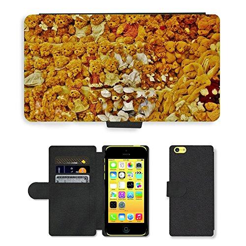 Just Mobile pour Hot Style Téléphone portable étui portefeuille en cuir PU avec fente pour carte//m00138114Teddy Bear jouet mignon animal//Apple iPhone 5C Marron