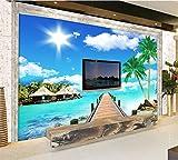 Kuamai Custom Landscape Wallpaper Maldives Seaside Scenery for Palm Room Tv Background Wall Waterproof Papel De Parede-120X100Cm