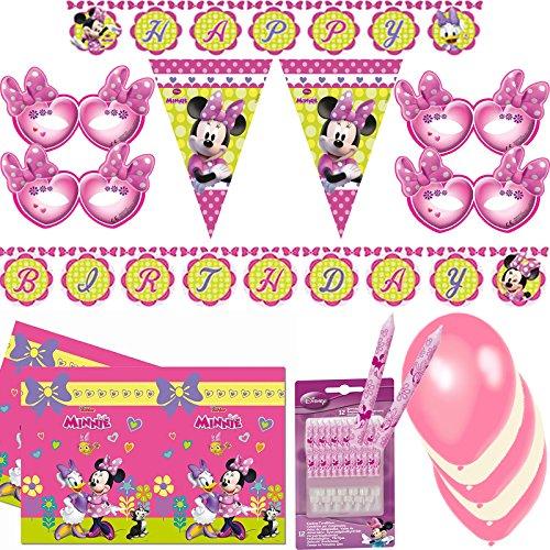 (72-teiliges Partyset * MINNIE MOUSE * für Kindergeburtstag // mit Tischdecke + Kerzen + Wimpelkette + Masken + Happy Birthday Banner + Luftballons + Luftschlangen // Mickey Disney Mädchen rosa Deko)