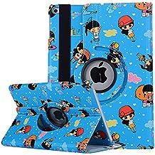 TechCode Funda iPad Air 2, iPad 5 Funda, Patrón Linda Encantadora de Dibujos Animados Funda giratoria 360 Grados para Funda de Cuero giratoria para 9,7 Pulgadas iPad Air 2 (Azul)