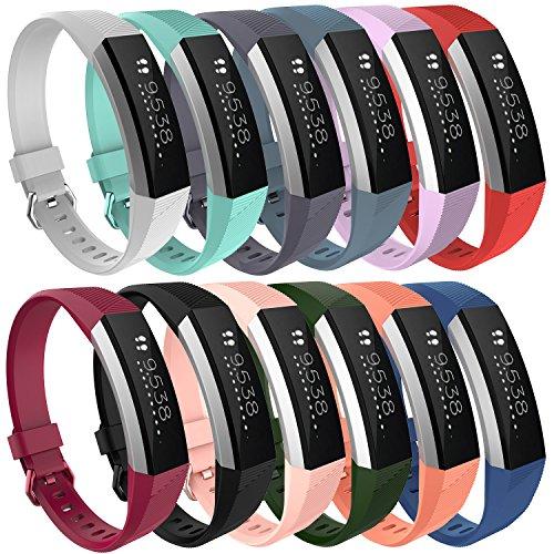 Pinhen Fitbit Alta HR Strap Fitbit Strap Verstellbares Ersatz-Sport-Zubehör Armband für Fitbit Alta/Alta HR Fitness Tracker, Alta HR, 12PCS, Größe S