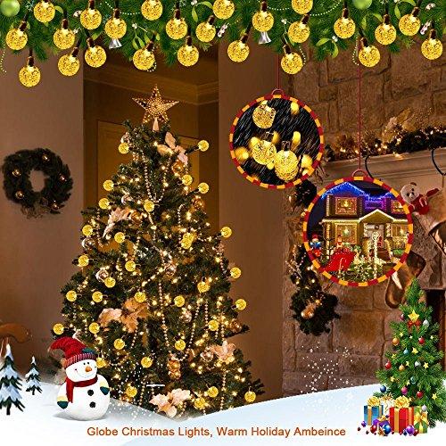 Satu Brown 60er LED Solar Lichterkette Garten Globe Außen Licht Warmweiß 11M, Dekorative Beleuchtung für Terrasse, Party, Hochzeit, Camping, Weihnachten, Hof, Outdoor, Fest Deko usw. -