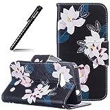 Schutzhülle Case für MicroLumia 550 Nokia N550,BtDuck Schwarz Hülle Handyhülle PU Briefcase Tier Blume Schmetterling Bunt Cover Tasche Etui Hülle Leder Silikon - Blume