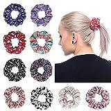 Scrunchies per capelli Satin, fermacravatte Bobbles Ponytail Holder Fasce per capelli per le donne Ragazze con modelli di colore diverso (Set di 10)