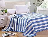 Lutanky - Coperta lavorata a maglia, elegante motivo a funi intrecciate e a righe, con morbido pile Sherpa, double-face,  coperta pesante ideale per divano e letto, Blue-white, 150 x 200 cm