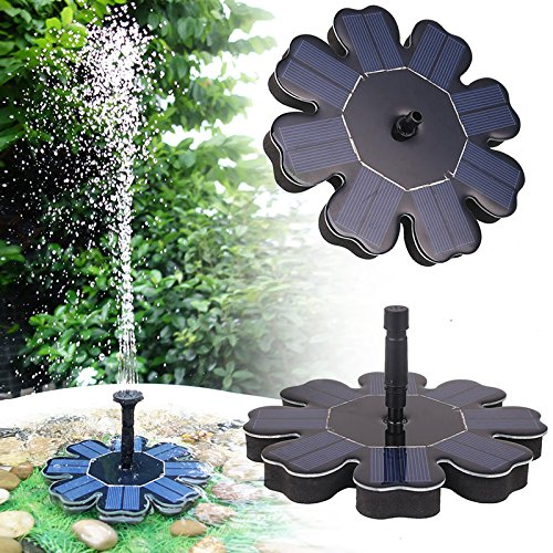 Pawaca Solar Springbrunnen, Solar Brunnen Pumpe 8V / 1.6W Monokristalline Solar Panel Freie Stehende Brunnen Solar Wasserpumpe für Vogelbäder Teich, Pool und Garten - Pumpe-sprayer Garten