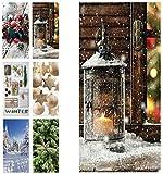 Hochwertiger Textilbanner Weihnachten/Winter - Große Auswahl - 180cmx90cm - Einseitig Bedruckt - Schaufenster Deko - Wanddeko/Textilbild/Weihnachtsdeko (Winterlaterne)
