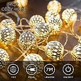 Guirlande lumineuse marocaine LED CozyHome - Longueur totale 7M | 20 LED blanc chaud | Deco cocooning | Boules argentées style oriental marocain - Pas de changement de piles