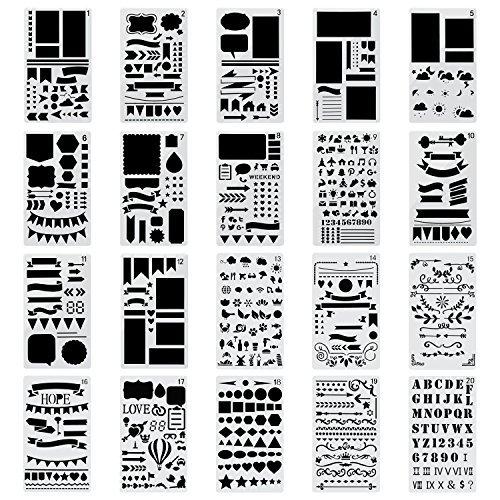 Pochoirs à Dessin, Yosemy 20 Pièces Pochoir Guide de lettres pour enfants bullet journal pour la création de cartes de Journalisation, scrapbooking, DIY et projets artistiques