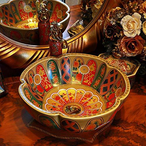 Gorheh Waschbecken Waschbecken handgemachte Keramik Kunst Counter Top Waschbecken Badezimmer Waschbecken Waschbecken Eitelkeiten Schüssel Waschbecken (Tops Eitelkeiten Mit)