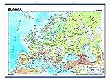 Mapa mural Europa impreso a doble cara Físico / Político envarillado, con colgadores y tubo 140 x...