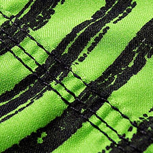 Niseng Homme Rayure Impression Board Shorts Séchage Rapide Maillot De Bain Plage Surf Shorts Vert
